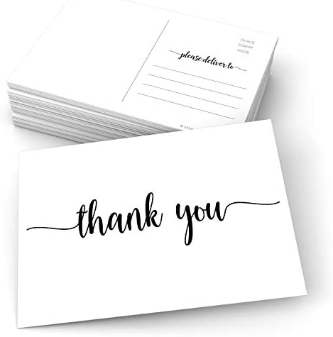 """321Done Thank You Postcards (Set of 50) 4"""" x 6"""" Blank with Mailing Side - Made in USA, Cute Modern Script Thick White Cardstock, Large"""