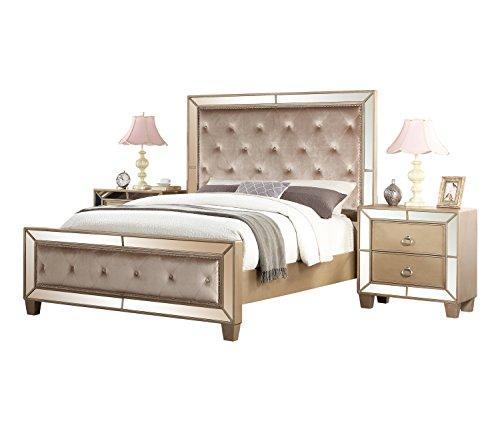 Abbyson Nina RK-B777-3PC-K 3 Piece Mirrored Tufted Bedroom Set, King (Set Mirrored Headboard)