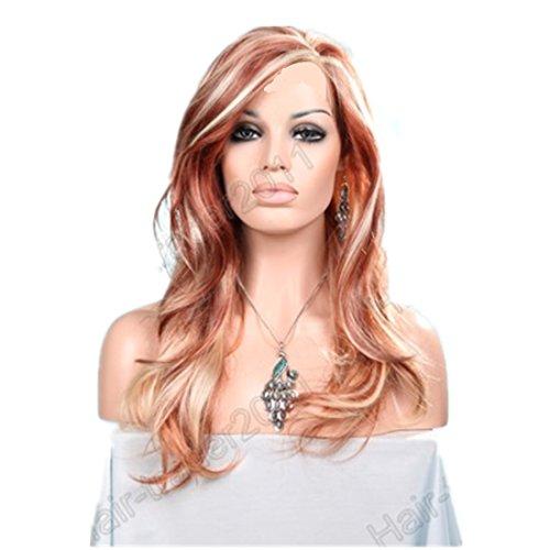 Mzcurse Wavy Wig Brown Auburn Blonde Mixed Highlights Layers