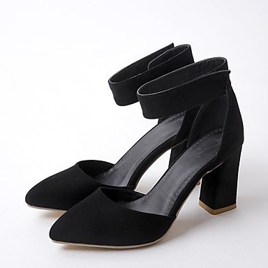 Le donne sexy elegante sandali donna tacchi Primavera Estate Autunno scarpe Club vello Office & Carriera Party & abito da sera Chunky Heel grigio nero , nero , noi4-4.5 / EU34 / uk2-2.5 / CN33
