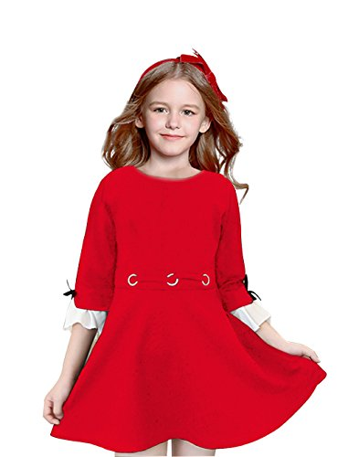 4-10T Kids Girls O Neck Flare Long Sleeve Cotton Fashion Pleated Vintage Dresses