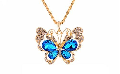 Collier Sautoir Pendentif Papillon Plaqué Or 18K, Strass de Cristaux Autrichiens Bleu Royal et Clairs Transparents de haute qualité