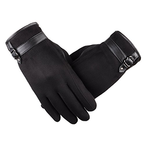 Touch Screen Leather Gloves, iKNOWTECH Premium Women's Suede Leather Warmer Cycling Texting Gloves for Apple iPhone 7Plus,7,6S Plus,6, Samsung Galaxy Phones and More (Black) (Suede Unisex Glove)