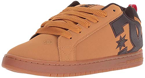 #DC Court Graffik SE Wheat Brown Mens Leather Skate Trainers