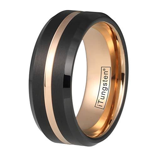 iTungsten 8mm Black/Blue/Brown Tungsten Rings for Men Women Rose Gold Wedding Bands Beveled Edges Matte Finish Comfort Fit
