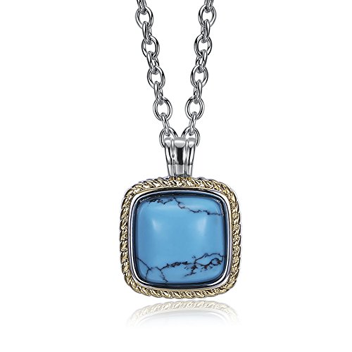 Kalapure Two-tone Platinum/ Yellow Gold Plated Square Turquoise Pendant Necklace, 17.7''+1.97'' Extended Chain (Yellow)