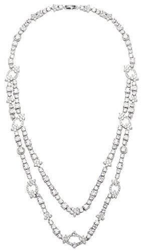 Gnzoe Plaqué Rhodium Femme Tassel CZ Diamant(Lab Créé) boucles d'oreilles & Collier Clair Ton Parures
