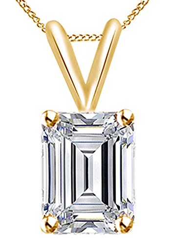 Jewel Zone US Emerald Cut White Cubic Zirconia Solitaire Pendant Necklace In 10K Solid Gold (1 Cttw) ()