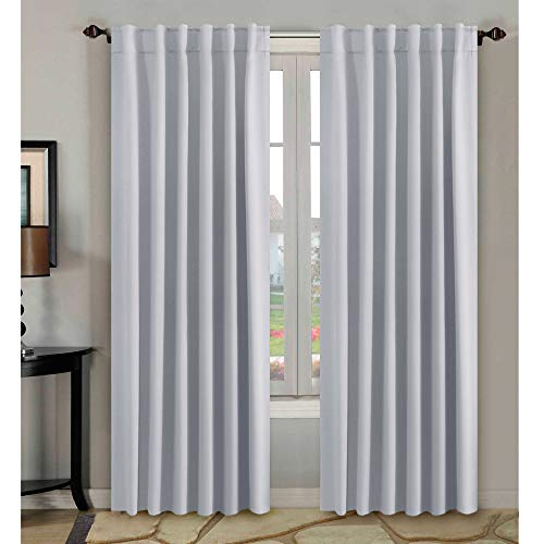 H.VERSAILTEX White Curtains Room Darkening Thermal Insulated Drapes for Bedroom Living Room, 52x84 inch, Back Tab/Rod Pocket - Set of 2 Panels, Greyish White ()