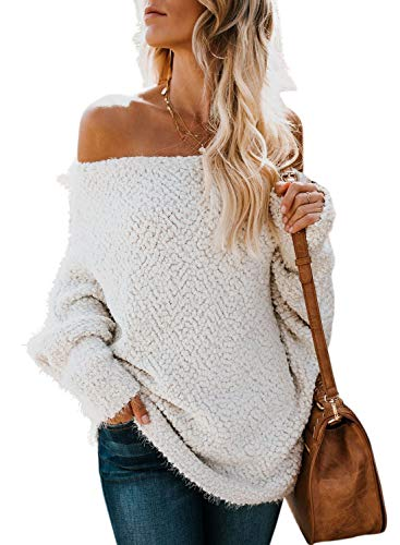 ZKESS Loose Off The Shoulder Loose Long Sleeve Fleece Front Knitted Oversized Sweaters for Women Pullovers Top White Medium Size