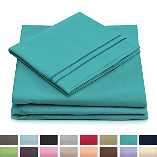 Queen Size Bed Sheets - Turquoise Luxury Sheet Set - Deep Pocket - Super Soft Hotel Bedding - Cool & Wrinkle Free - 1 Fitted, 1 Flat, 2 Pillow Cases - Teal Queen Sheets - 4 Piece - Euro Fitted Sheet