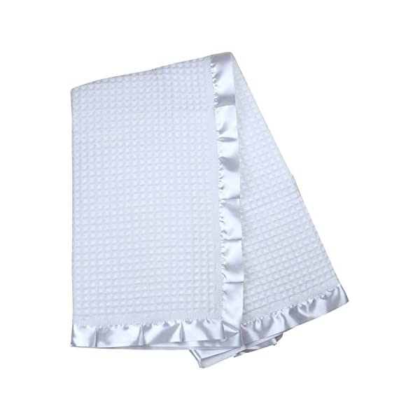 BabyPrem Baby Blanket Shawl Satin Edge Christening Baptism Knitted White 110 x 100cm