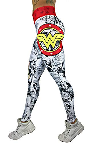 Exit 75 Superhero (Many Styles) Leggings Yoga Pants Compression Tights (Wonder Woman White)
