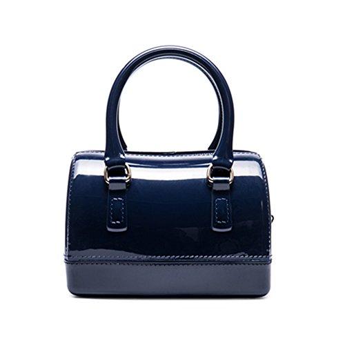 Caleen6 Women Charming Jelly Pillow-shaped Shoulder Bag Top Handle Bag Tote Dark Blue