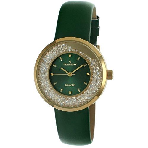 - Peugeot Women's 'Diamond' Quartz Metal and Leather Dress Watch, Color:Green (Model: 3041GGR)