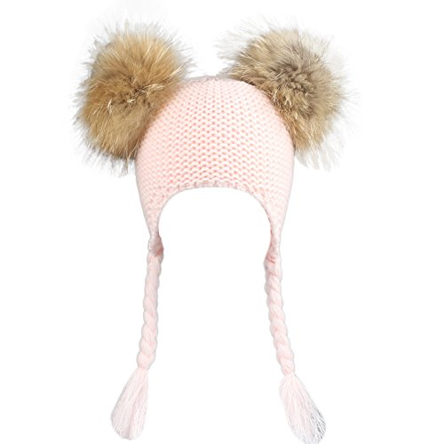 Gbell Winter Warm Caps Knitted Earflaps Hats for Baby Kids,Infant Soft Warm Knit Caps Ear Flaps Crochet Stretch Beanies Hats for Toddler Boys Girls,Pom Pom,Assorted Solid Color