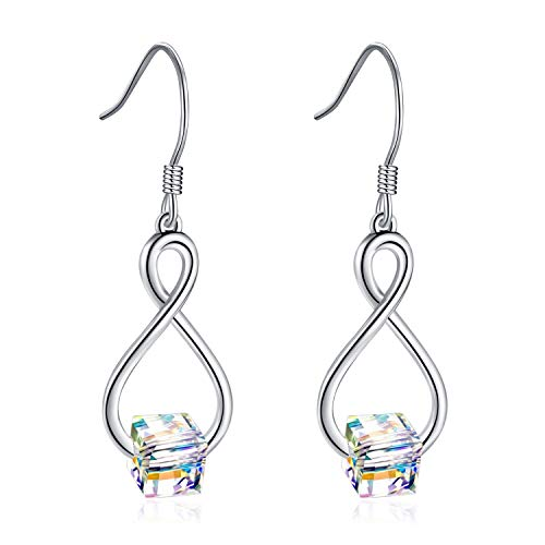 AOBOCO Sterling Silver Infinity Drop Earrings Cube Crystal from Swarovski French Hook Dangle Earrings for Women Girls