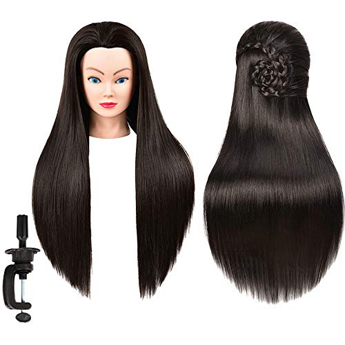 Mannequin Head Synthetic Hair Manikin Head Hair 26-28inches Training Head Styling Hairdresser Training Head Model Cosmetology Doll Head Synthetic Fiber Hair Hairdressing Training Model with Free Clamp
