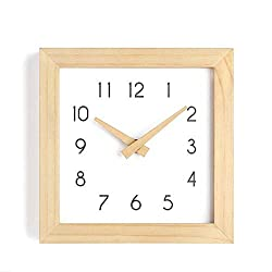 JUSTUP Wooden Wall Clock, 10 inch Non-Ticking Silent Wall Clock Battery Operated with Sweep Quartz Movement Square Decorative for Kitchen Bedroom Living Room Kids Room (10 inch)