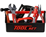 Playkidz Tool Box for Kids 22-Piece Boys & Girls Construction Toy Playset w/Carry Chest, Working Push Button Power Drill, Hammer, Screwdriver, Wrench, Pliers, Saw & Other Realistic Tools Ages 3+