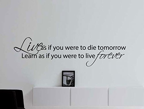 Mahatma Gandhi Quote Wall Decal - Live If You Were to Die Tomorrow Learn As If You Were to Live Forever 36 X 10 Inches - Mahatma Gandhi Quote Sticker