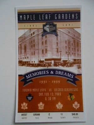 Toronto Maple Leaf Gardens rare NHL last hockey game ticket (Reproduction)