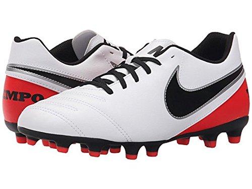 Nike Womens Tiempo Rio III FG Soccer Cleat (White/Bright Crimson/Black) (6.5) by NIKE