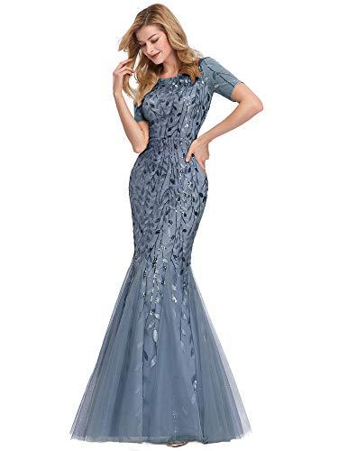 Women's Illusion Embroidery Elegant Mermaid Evening Dress Blue Haze US6