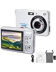 Digitale camera voor kinderen, kindercamera, ingebouwde microfoon, speelgoed voor kinderen, digitale videocamera, opname van kindercamera, digitale videocamera voor kinderen, (Zilver)