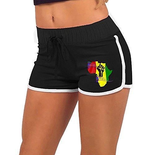 Baujqnhot Africa Power Rasta Reggae Fist Pride Girls Comfort Waist Workout Running Shorts Pants Yoga Shorts by Baujqnhot