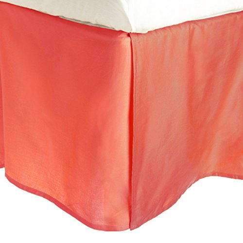"Superior 100% Premium Combed Cotton, Bed Skirt with 15"" Drop, Classic Pleated Sides and Split Corners to Accommodate Bed Posts, Coral - Queen"