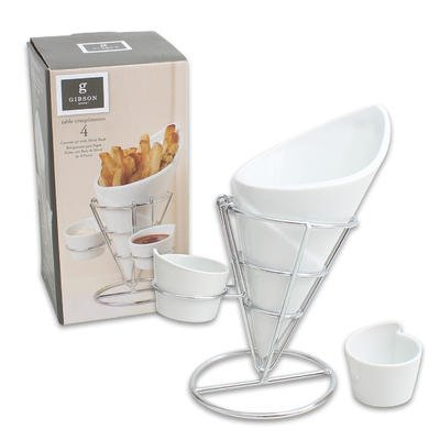 Gibson Table Compliments, 4 Piece French Fry Serving Set with Metal Rack - French Fry Rack