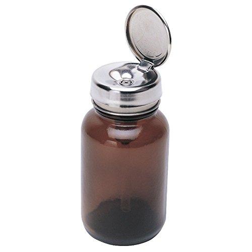 MENDA 35740 Glass/Steel/Pfa(Perfluoroalkoxy Alkanes) Dispensing Bottle, One-Touch Liquid Dispenser Pump, Amber Glass, Impact Resistant, PFA Stem, 4 oz, 6 fl. oz. Capacity (Pump Menda)