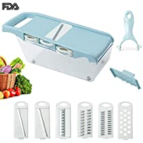 Vegetable Fruit Chopper Wheat Straw Made Vegetable Cutter Adjustable Shredder with 4 Blade Food Strainer Grinder Grater Storage Container