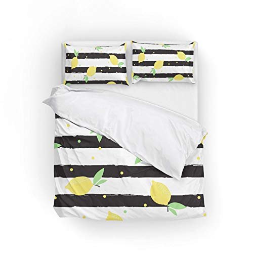 Cooper girl Stripe White and Black Duvet Cover Set Queen Soft Microfiber Polyester 1 Duvet Cover and 2 Pillow Shams Three Piece