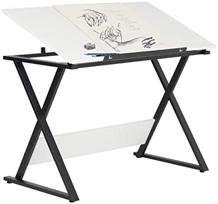 SD Studio Designs Studio Designs 13353 Axiom Modern Art, Drawing, Crafting, Drafting, 42-Inch Wide MDF Adjustable Angle Top Table in Charcoal White, W x 24 D x 30 H