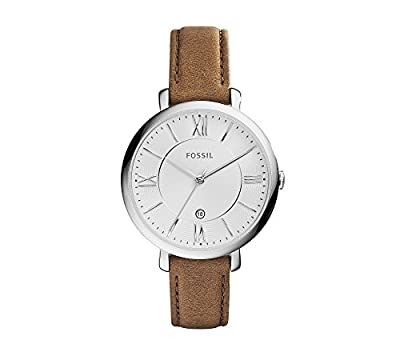 Fossil Women's 36mm Silvertone Jacqueline Brown Leather Strap Watch