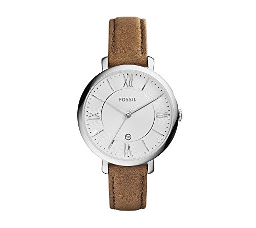 Fossil-Womens-36mm-Silvertone-Jacqueline-Brown-Leather-Strap-Watch
