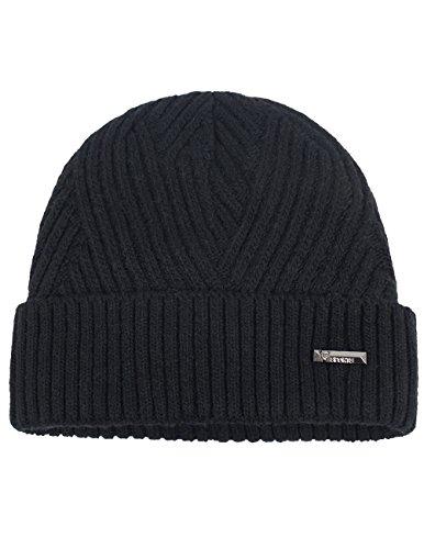 (Dahlia Men's Wool Blend Beanie Hat - Warm Velour Lined Twill Weave - Black)
