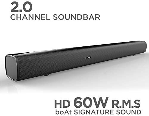 Boat AAVANTE BAR 1160 60W Bluetooth Sound bar with 2.0 Channel boAt Signature Sound, Multiple Compatibility Modes, Sleek Design and Entertainment EQ Modes (Active Black)