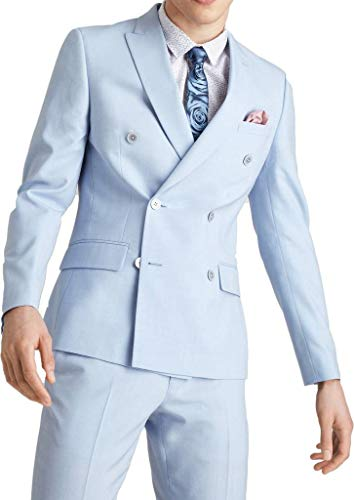 Peak Double Jacket Breasted Tuxedo (auguswu Young Mens Double Breasted Peak Lapel 2 Piece Business Suit Pants Sets 54R Sky Blue)