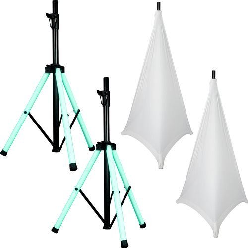 American Audio LED Light-Up Speaker Stands with White Gator Scrims by American Audio