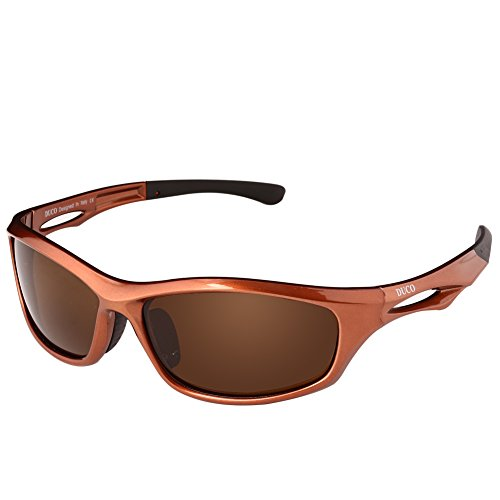 DUCO Polarized Sunglasses for Running Cycling TR90 Unbreakable Frame 6199 Brown