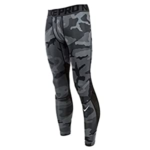 Nike Men's PRO HYPERCOOL Camo Compression Tights BLACK / GREY 848844 010 (Large)