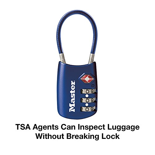 41Yv6g07enL - Master Lock 4688D Set Your Own Combination TSA Accepted Luggage Lock 1 Pack Blue