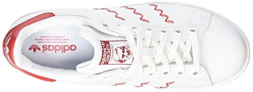 adidas Originals Damen Stan Smith Sneakers Weiß (Ftwr White/Ftwr White/Collegiate Red)