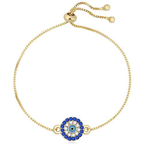 Turkish Evil Eye (SENFAI Blue Turkey Evil Eye Charm Bracelet Expandable 1 for All Wrist 3 Tone 9