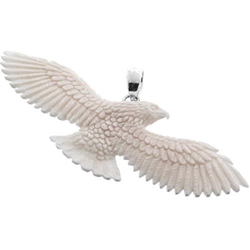 Flying Eagle Hand Carving Buffalo Bone 925 Sterling Silver Pendant