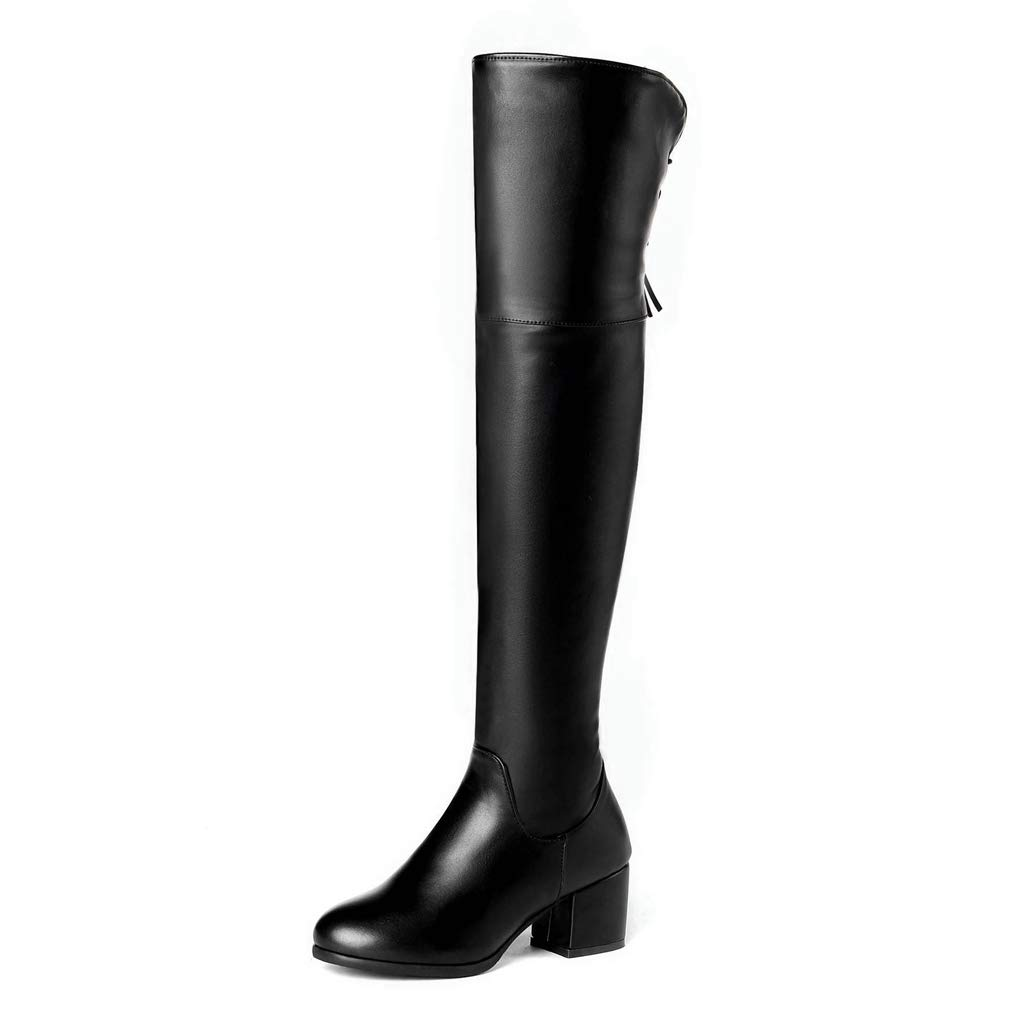CYBLING Womens Over-The-Knee High Riding Boots Wide Calf Military Chunky Heel Combat Boots