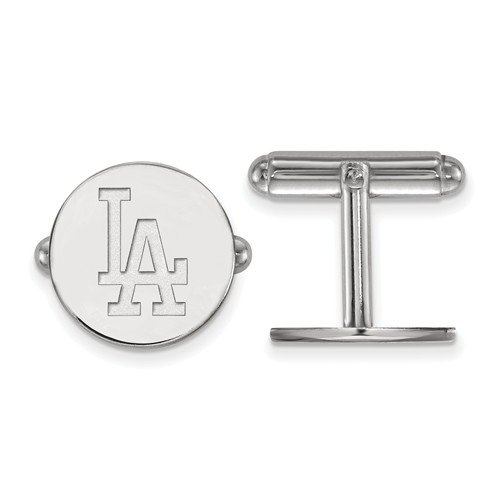 Rhodium-Plated Sterling Silver MLB Los Angeles Dodgers Round Cuff Links,15MM by The Men's Jewelry Store (Image #2)